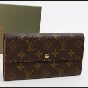 Auth LV MGN Portefeiulle Sarah Long Bifold Wallet